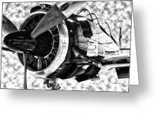 Airplane Propeller And Engine T28 Trojan 02 Bw Greeting Card
