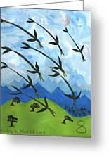 Airy Eight Of Wands Illustrated Greeting Card