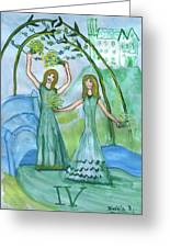 Airy Four Of Wands Illustrated Greeting Card