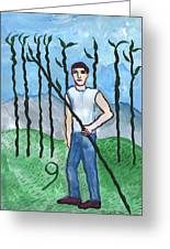Airy Nine Of Wands Illustrated Greeting Card