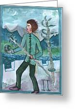 Airy Two Of Wands Illustrated Greeting Card