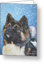 Akita In Snow Greeting Card