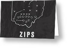 Akron Zips / Ncaa College Football Art / Ohio Greeting Card by Damon Gray