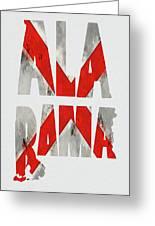 Alabama Typography Map Flag Greeting Card