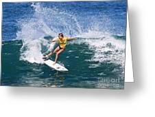 Alana Blanchard Surfing Hawaii Greeting Card