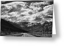 Alaska Bw On The Road  Greeting Card