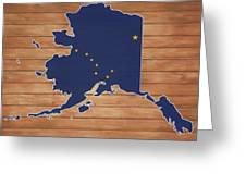 Alaska Map And Flag On Wood Greeting Card