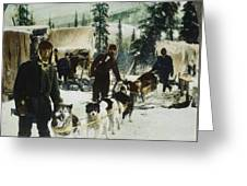 Alaskan Dog Sled, C1900 Greeting Card