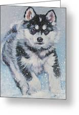 alaskan Malamute pup in snow Greeting Card