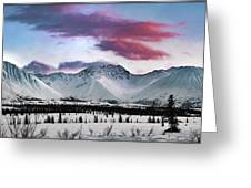 Alaskan Range At Sunset Greeting Card
