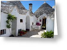 Alberobello Courtyard With Trulli Greeting Card