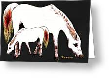 Albino Mare And Colt Greeting Card