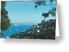 Alcatraz And San Francisco - Oakland Bay Bridge  Greeting Card
