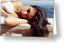 Alexis In Santorini Iv Greeting Card
