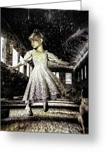 Alice And The Rabbit Greeting Card by Bob Orsillo