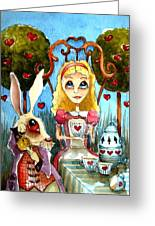 Alice And The Rabbit Having Tea... Greeting Card