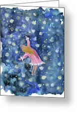 Alice Flying Inthe Night Sky Greeting Card