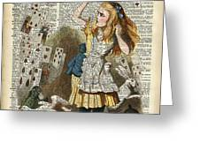 Alice In The Wonderland On A Vintage Dictionary Book Page Greeting Card