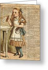 Alice In Wonderland Drink Me Vintage Dictionary Art Illustration Greeting Card