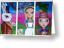 Alice In Wonderland Inspired Triptych Greeting Card