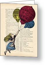 Alice In Wonderland With Big Colorful Balloons Greeting Card