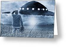 Alien Invasion Cyberpunk Version Greeting Card