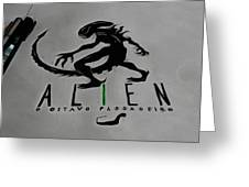 Alien On Marker Greeting Card
