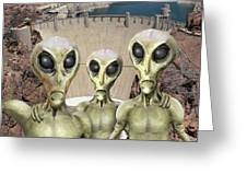 Alien Vacation - Hoover Dam Greeting Card