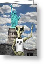 Alien Vacation - New York City Greeting Card