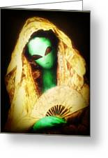 Alien Wearing Lace Mantilla Greeting Card