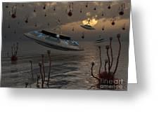 Aliens Celebrate Their Annual Harvest Greeting Card by Mark Stevenson