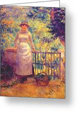 Aline At The Gate Girl In The Garden 1884 Greeting Card