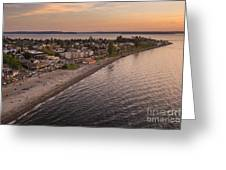 Alki Point Aerial Sunset Greeting Card