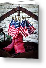 All American Flag And Red Boots - Painterly Greeting Card