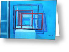 All Square And Blue Greeting Card