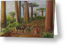 Alley Of The Baobabs Greeting Card