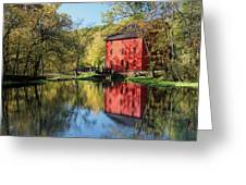 Alley Spring Mill Reflection Greeting Card