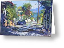 Alleyway By Lida's House Greece Greeting Card