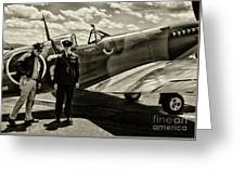 Allied Pilots Taking Stock Greeting Card