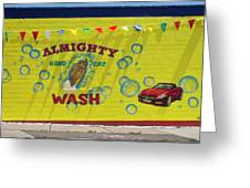 Almighty Car Wash Greeting Card