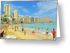 Aloha From Hawaii - Waikiki Beach Honolulu Greeting Card