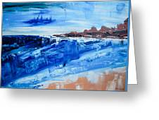 Alone By The Sea Abstract Seascape Greeting Card