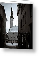 Alone In Tallinn Greeting Card by Dave Bowman