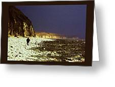 Alone On The Beach In Yorkshire Greeting Card