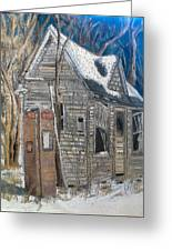 Along A Cold Country Road Greeting Card