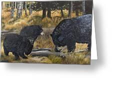 Along An Autumn Path - Black Bear With Cubs Greeting Card
