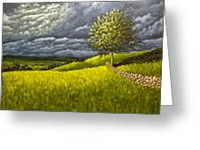 Along The Stone Wall Greeting Card