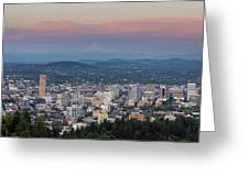 Alpenglow Over Portland Oregon Cityscape Greeting Card