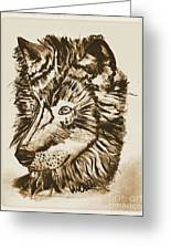 Alpha Male - The Wolf - Antiqued Greeting Card