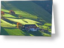 Alpine Farm And Meadows In Autumn Greeting Card